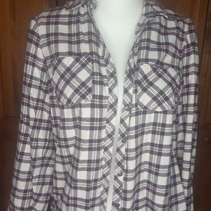 Tops - Falls creek flannel. Maroon and white